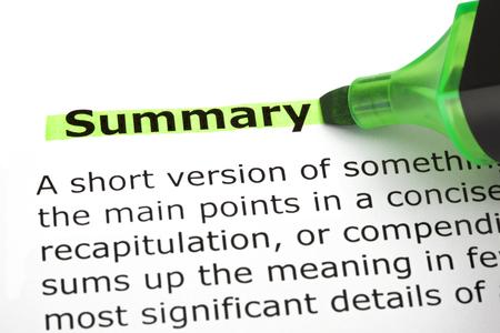 summation: Summary Highlighted With Green Marker Stock Photo