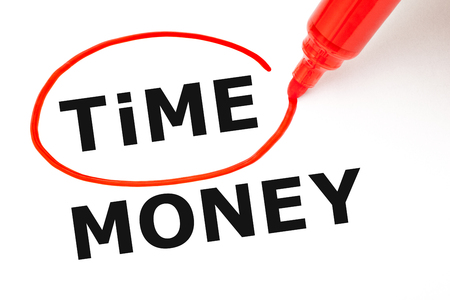 downshifting: Time Money Concept Red Marker