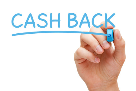 Hand writing Cash Back with blue marker on transparent glass board.