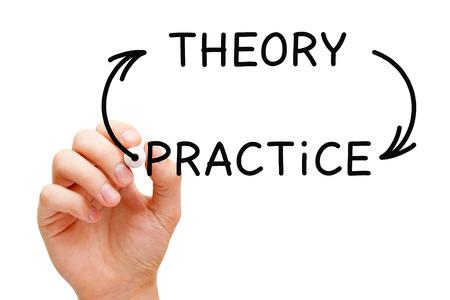 Theory Practice Arrows Concept Stock Photo