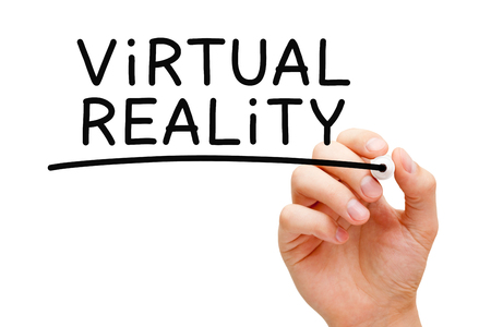 Virtual Reality Handwritten With Black Marker Stock Photo
