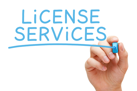 accredit: License Services Blue Marker Stock Photo