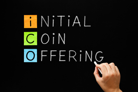 ICO - Initial Coin Offering Foto de archivo