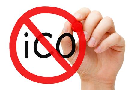 ICO Ban Prohibition Sign Concept