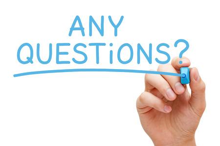 Wszelkie pytania odręcznie z niebieskim markerem Zdjęcie Seryjne