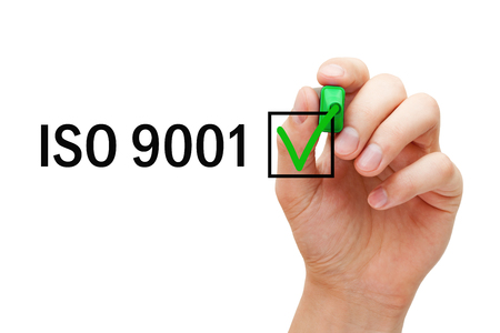 ISO 9001 Quality Management System Certified Concept Foto de archivo