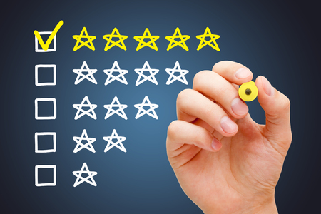 Excellent Five Star Customer Evaluation Concept Stock Photo