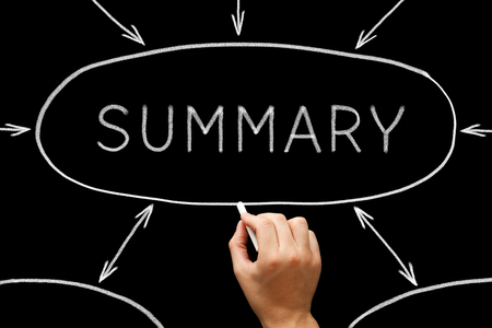 Summary Flow Chart Concept On Blackboard