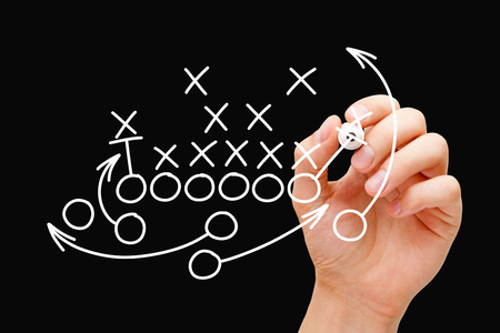 Coach Drawing American Football Game Strategy Stockfoto