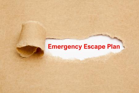 Emergency Escape Plan Torn Paper Concept