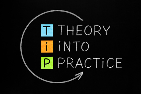 Theory Into Practice TIP Concept Banco de Imagens - 119519547