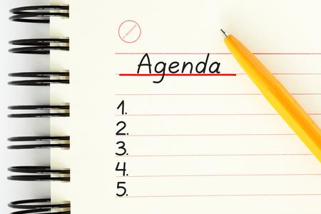 Concept de liste de planificateur d'ordre du jour vierge