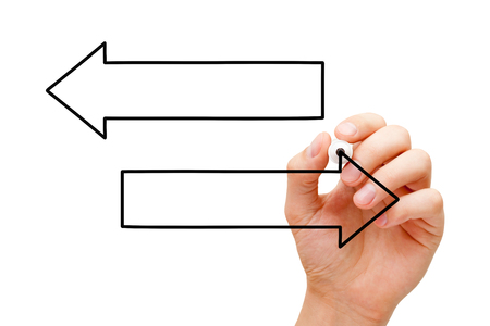 Hand Drawing Two Blank Arrows Diagram Stock Photo