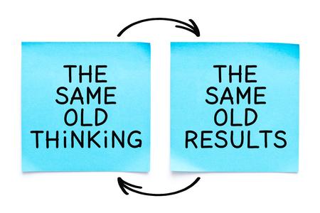 Citazione motivazionale The Same Old Thinking, The Same Old Results scritta a mano con pennarello su due foglietti adesivi blu su sfondo bianco.