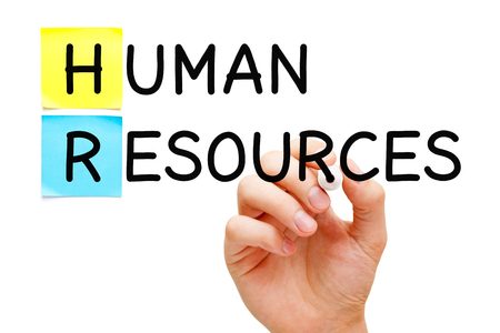 Hand writing Human Resources with black marker. Workforce or people management concept. Banco de Imagens - 123097643