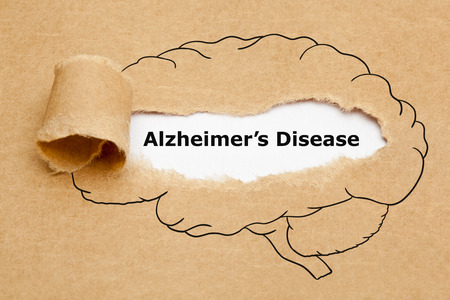 Alzheimers Disease Ripped Paper Concept Imagens