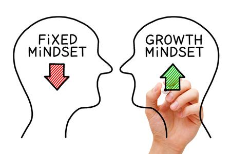 Mano dibujo concepto de éxito Fixed Mindset vs Growth Mindset con marcador negro en tablero transparente.