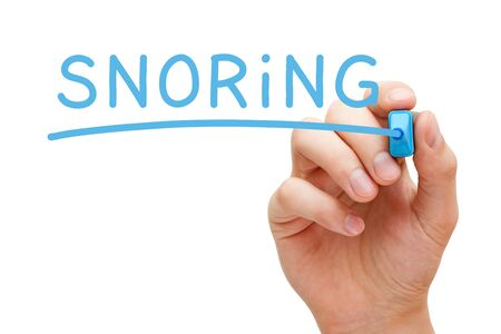 Word Snoring Handwritten With Blue Marker Banco de Imagens - 127354611