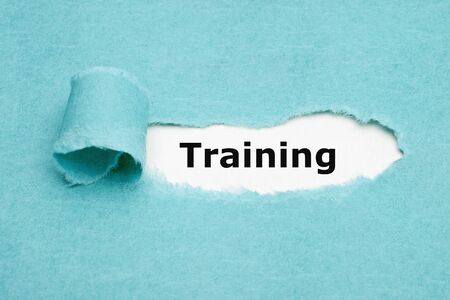 Word Training Blue Torn Paper Concept