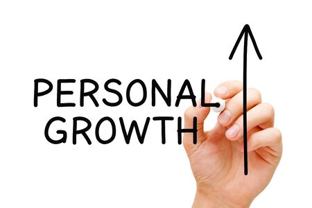Hand drawing Personal growth and development, self-improvement or self-growth concept with black marker on transparent wipe board. Banco de Imagens - 128577032