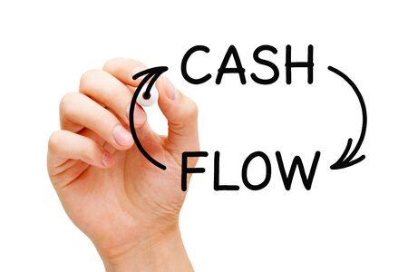 Handzeichnung Cash Flow Pfeile Finanzkonzept mit schwarzer Markierung auf transparentem Glasbrett.