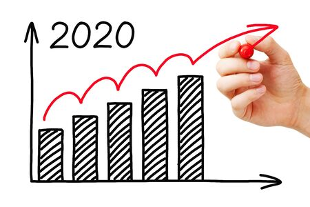 Hand drawing business success growth graph for year 2020 with marker on transparent wipe board isolated on white.