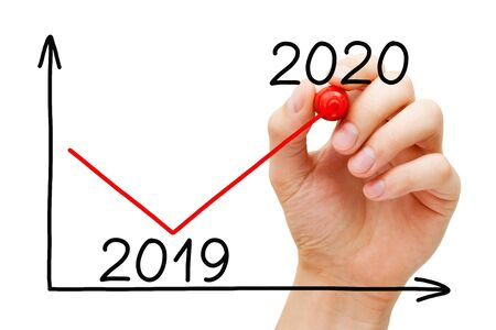 Hand drawing business recovery graph for year 2020 in comparison with 2019 with marker on transparent wipe board isolated on white.