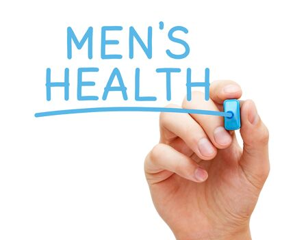 Hand writing Men's Health with blue marker on transparent wipe board isolated on white background.
