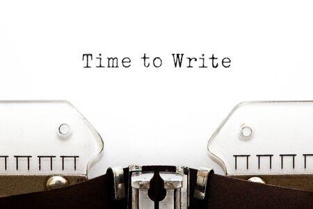 Text Time to Write typed on vintage typewriter. 스톡 콘텐츠 - 135766339