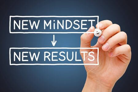 Hand writing New Mindset New Results concept with white marker on transparent wipe board on dark blue background. Standard-Bild