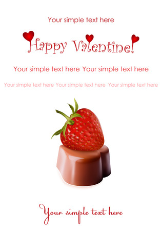 Photo-realistic illustration. Heart-shaped chocolates and ripe strawberry. Vector