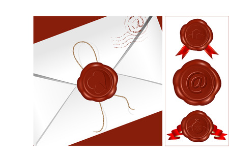 Letter with wax seal. Set of different wax-seals. Vector