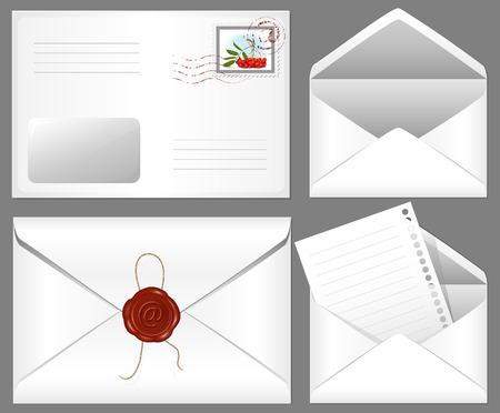 Letter with wax seal and postage stamp. Vector
