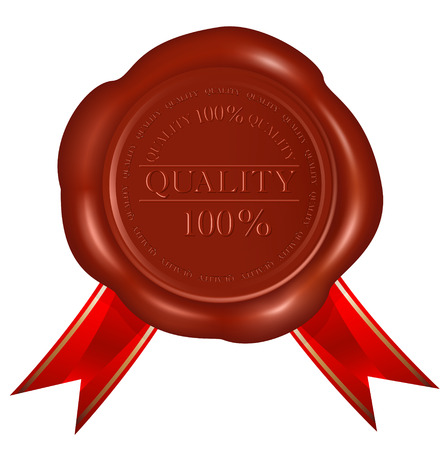 Wax seals with red ribbons. Vector
