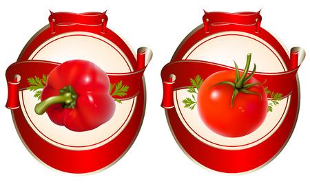 Etiqueta de un producto (salsa de tomate, salsa) con ilustración fotorrealistas de tomate y pimiento. Ilustración de vector