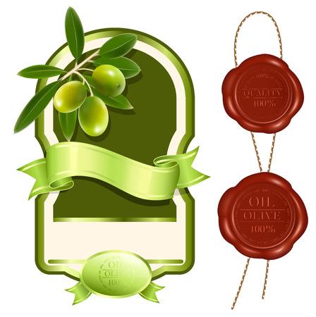 illustration. Label for product. Olive oil.  Illustration