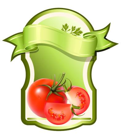 Etiqueta de un producto (salsa de tomate, salsa) con foto ilustración realista de verduras. Ilustración de vector