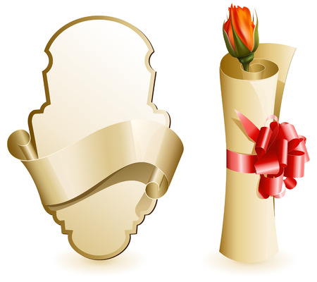 illustration.  Label with ribbon. Paper scroll with red gift bow and rose. Vector