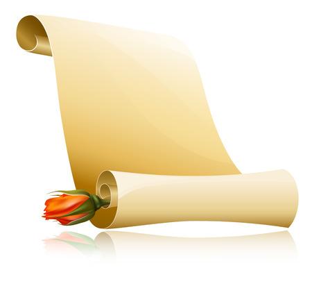 illustratie. Papier schuif met roos.