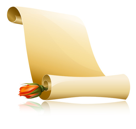 scroll?:  ilustraci�n. Desplazamiento de papel con Rosa.