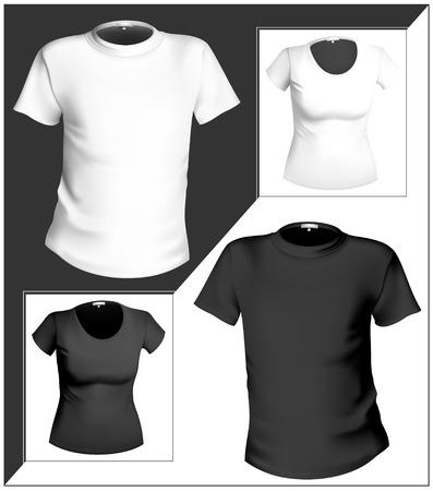 white t shirt: illustration. T-shirt design template (men and women). Black and white.