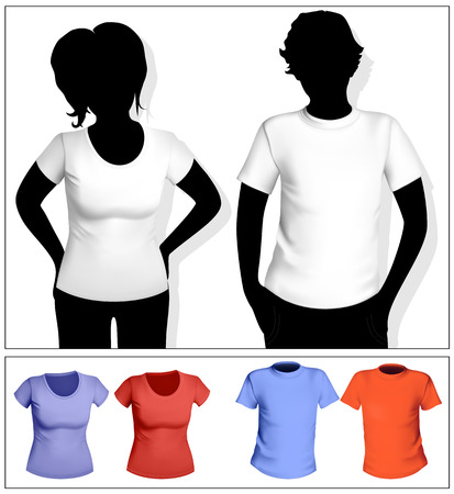 Womens and mens t-shirt template with human body silhouette. White and color. Vector