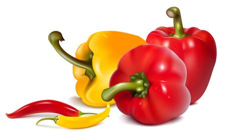 antioxidant: Red and yellow  peppers with chili hot peppers.