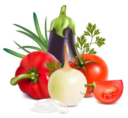 tinge:  Colorful fresh group of vegetables.