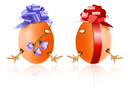 bluebell:  Hens egg with chicken inside, red gift bow and bluebell. Happy Easter!