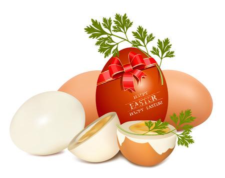 eggshells: Conjunto de huevo.  Huevo de Pascua con cinta roja y perejil.
