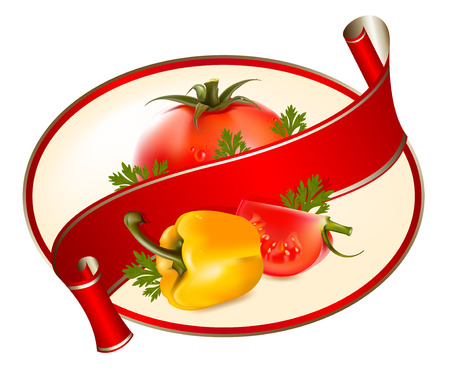 Label for a product (ketchup, sauce) with photo realistic  illustration of tomatoes and pepper. Vector