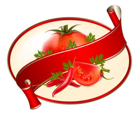 Etiqueta de un producto (salsa de tomate, salsa) con foto ilustración realista de tomates y chiles. Ilustración de vector