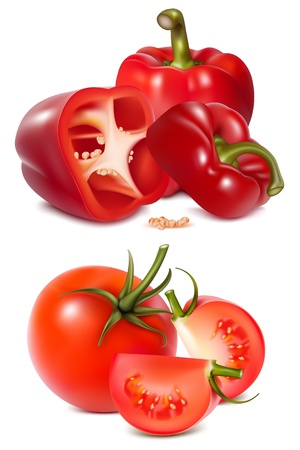 Photorealistic. Red vegetables with parsley. Illustration