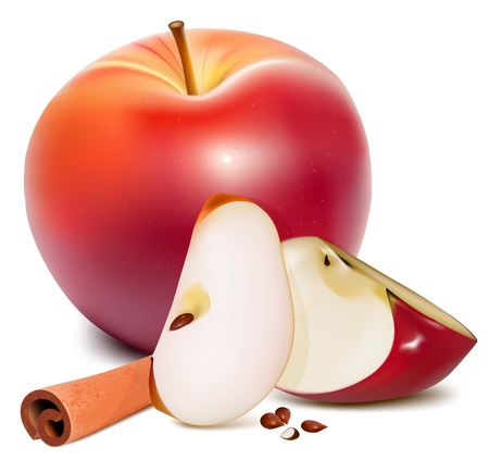 apple cinnamon: Vector. Ripe red apples with green leaves and cinnamon.